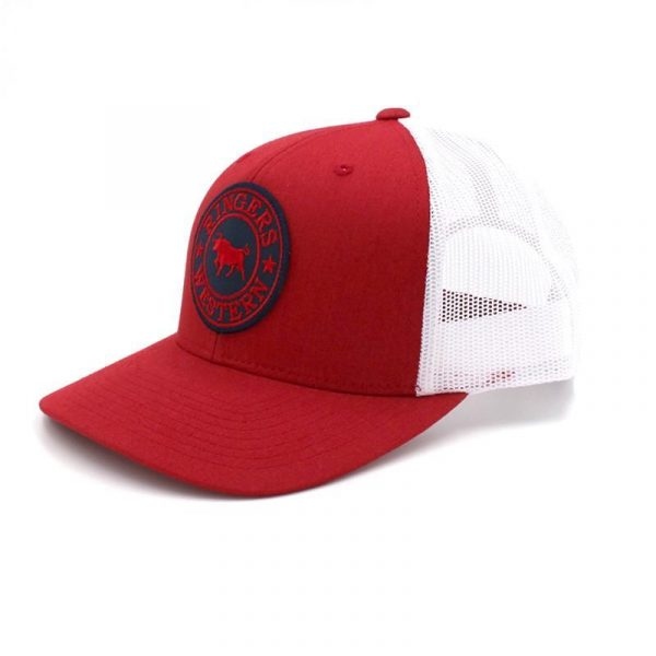Ringers Western~Red & White Truckers Cap