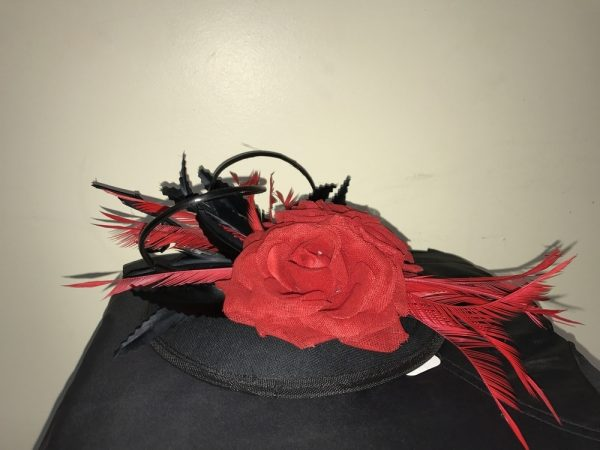 Black with 2 Roses and black feathers