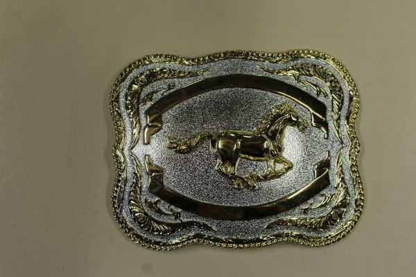 Gold galloping horse square belt buckle