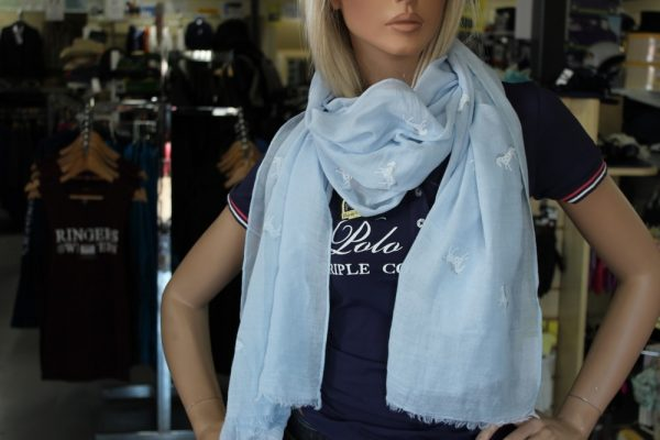 Baby Blue Scarf with white & Silver Sparkle Horses