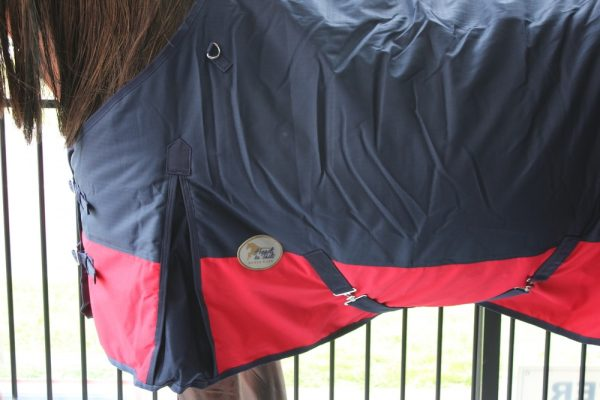 Heads To Tails winter Rug~Navy/Red