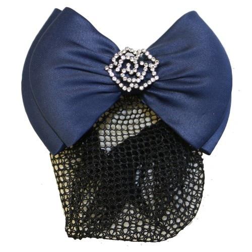 Huntington Rose Show Bow w/Hair Net Navy
