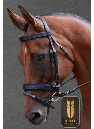 Flexible fit Bridle Black with Stainless SteelFittings