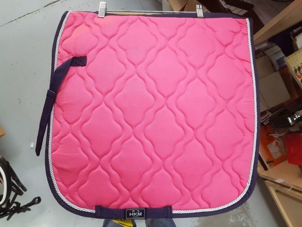 Hkm- Pink with Navy Binding-Pony Dressage