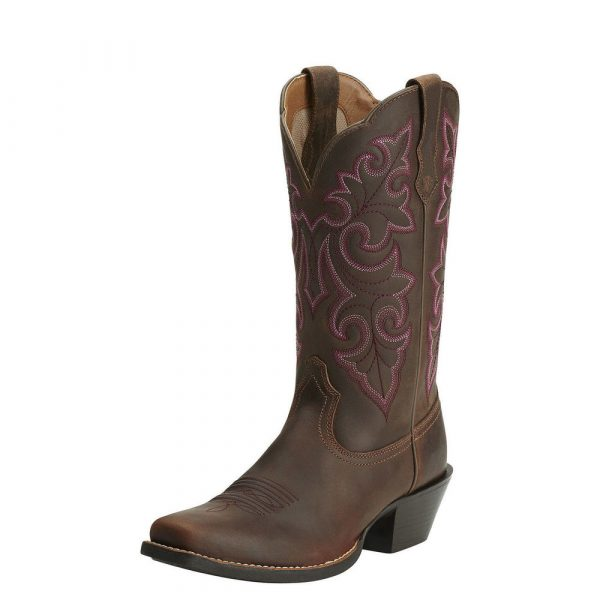 Round up square toe powder brown
