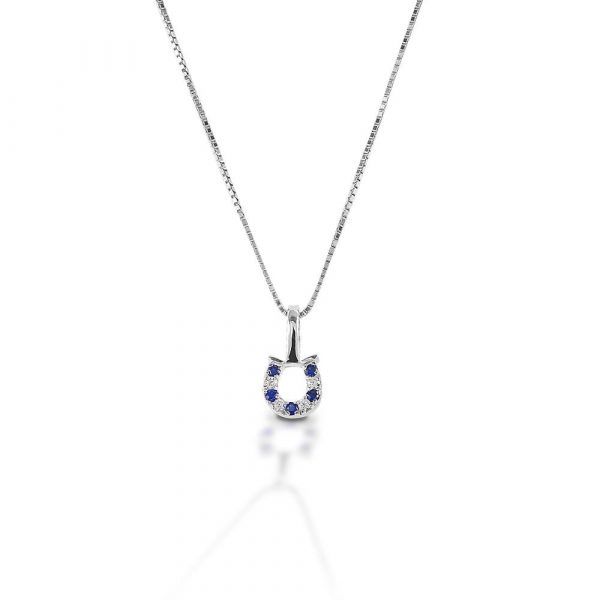 KELLY HERD BLUE & CLEAR HORSESHOE NECKLACE - STERLING SILVER