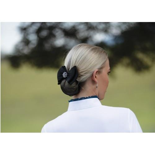 Huntington Rose Show Bow w/Hair Net Black