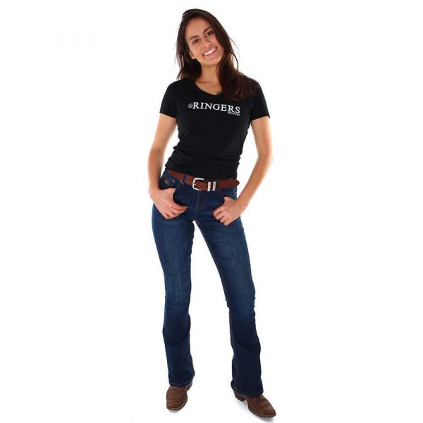 Ringers Western~Tanami Womens Scoop Fitted Black Top