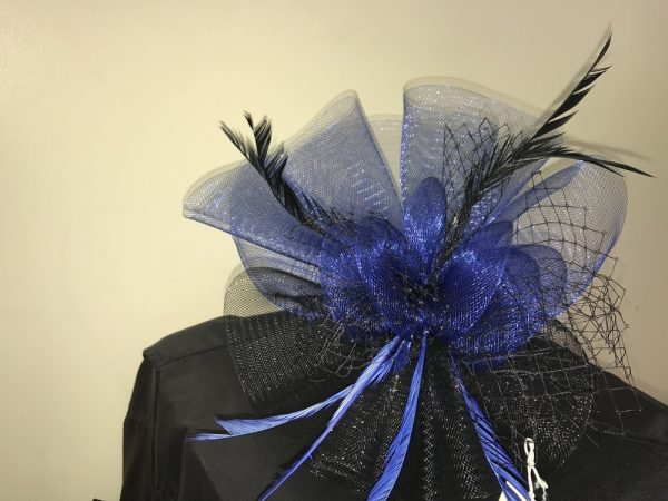 Royal blue and black with feathers