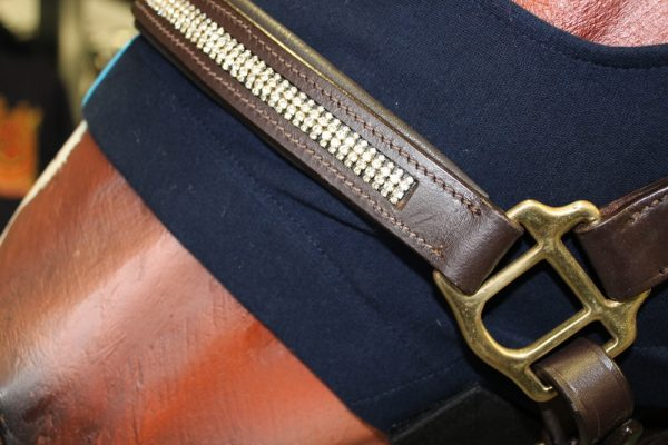 Heads to tails Leather halter bling brown