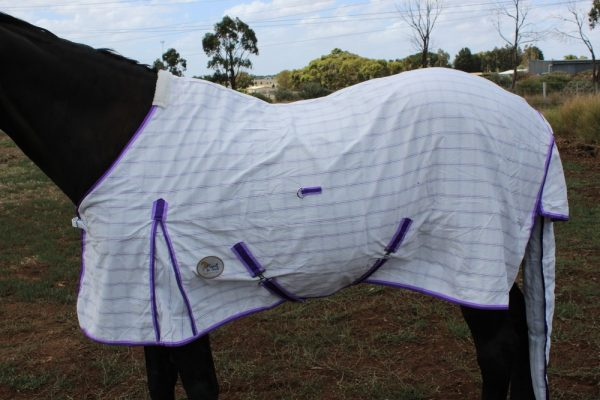 Poly Cotton Diamond Check Rug~Purple WITHOUT Surcingles (belly Straps)