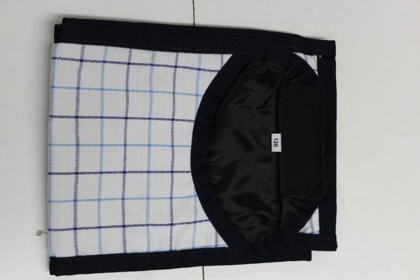 Heads To Tails Tail Bag~ Navy Light Blue check- Satin Lined