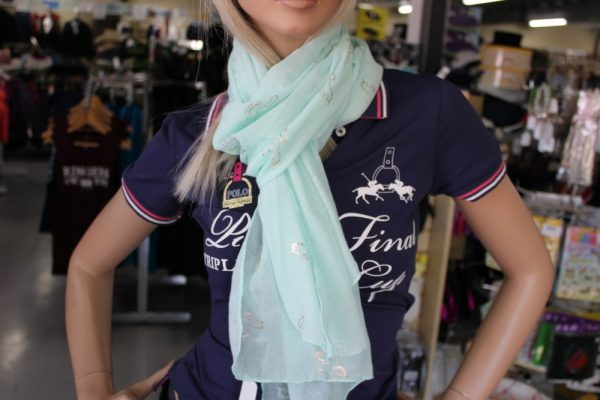 Mint Green Scarf with Gold Unicorns