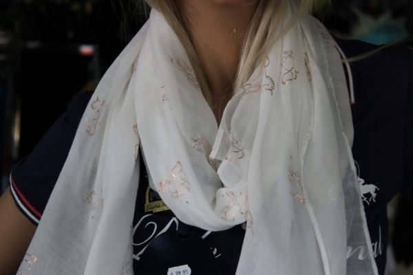 White scarf with Gold Sparkle horses