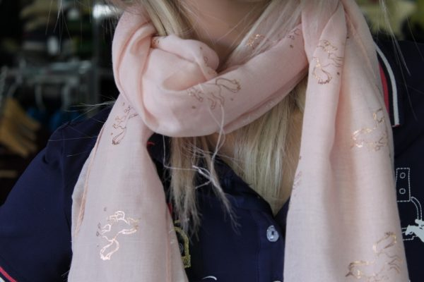 Peach scarf with gold horses