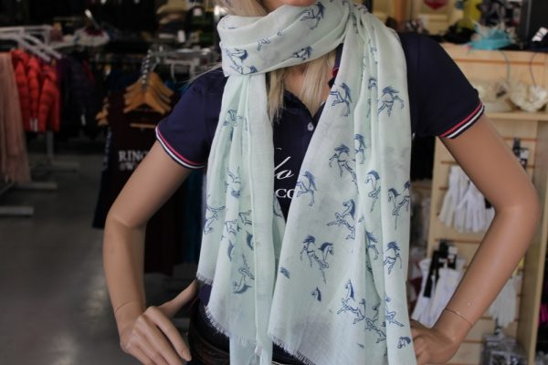 Mint Green Scarf with Navy horses