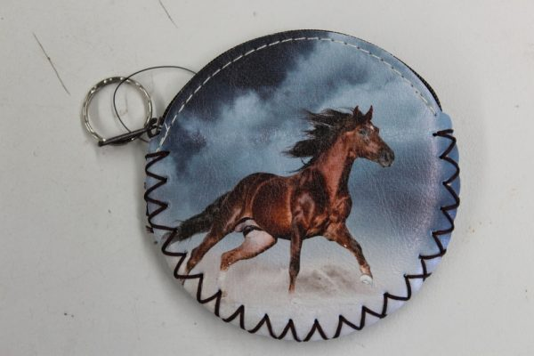 coin purse- brown stallion galloping