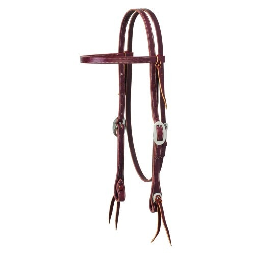 "Weaver 5/8"" Buttered Browband Burgundy Headstall"