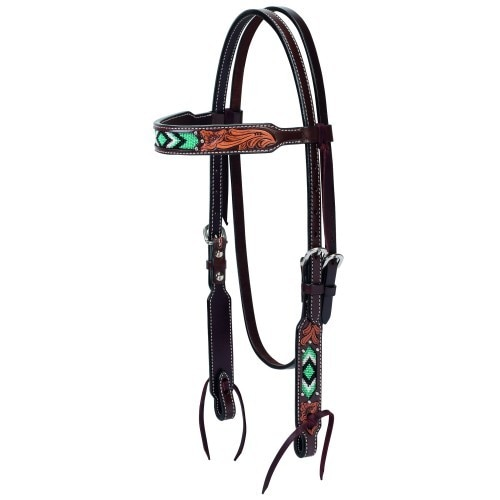Weaver Turquoise Beaded Browband Headstall Floral