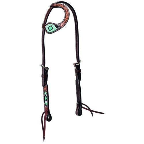 Weaver Turquoise Beaded One Ear Headstall Floral