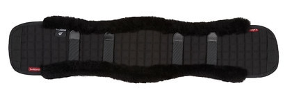 LE MIEUX DRESSAGE SHAPED GIRTH COVERS BLACK/BLACK (MERINO LAMBSWOOL)