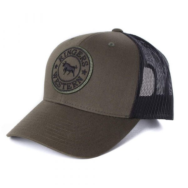 Ringers Western~Signature Bull Trucker Army with Army & Black Patch